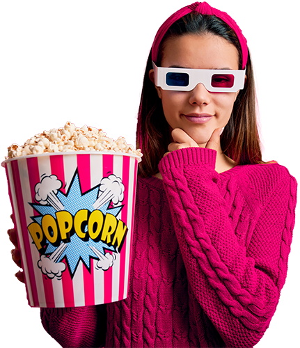 Girl wearing 3D glasses and holding popcorn